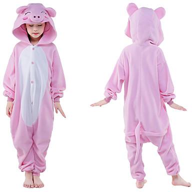 สำหรับเด็ก Kigurumi Pajama Piggy / Pig Onesie Pajama Polar Fleece สีชมพู คอสเพลย์ สำหรับ เด็กชายและเด็กหญิง สัตว์ชุดนอน การ์ตูน Festival / Holiday เครื่องแต่งกาย