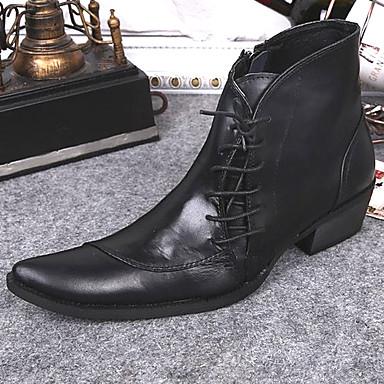 Muškarci Cipele za noviteti Mekana koža Zima / Jesen zima Vintage / Uglađeni Čizme Ugrijati Čizme gležnjače / do gležnja Crn / Zabava i večer