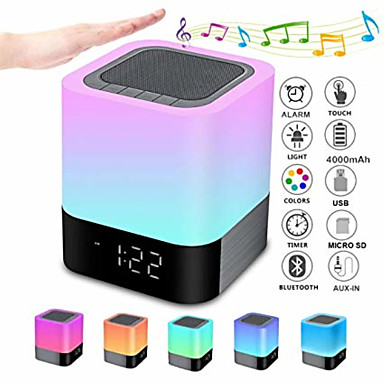 cheap Smart alarm clock-Bluetooth Speaker Night Lights Alarm Clock Bluetooth Speaker MP3 Player Touch Control Bedside lamp Dimmable RGB Multicolor Changing LED Table Lamp for Bedroom USB Flash Drive/MicroSD/AUX Support