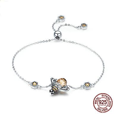 levne Dámské šperky-Dámské Diamant Silver Bracelets Retro Včela Luxus Módní Cute Style Sklo Náramek šperky Stříbrná Pro Svatební Dar Denní Škola Street / S925 Sterling Silver