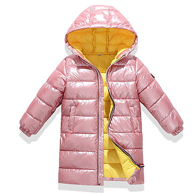 cheap Girls' Clothing-Kids Girls' Basic Color Block Down & Cotton Padded Black