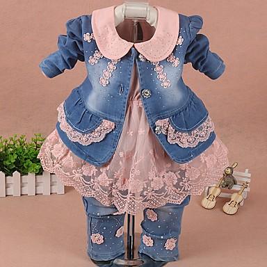 povoljno Odjeća za bebe-Dijete Djevojčice Ulični šik Color block Dugih rukava Regularna Komplet odjeće Obala