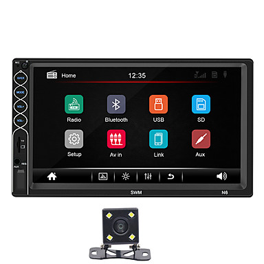 cheap New Arrivals-SWM N6 4LED camera 7 inch 2 DIN Windows CE Car MP5 Player / Car Multimedia Player Touch Screen / Built-in Bluetooth Support SD / USB RCA / HDMI / VGA MPEG / MPG for universal