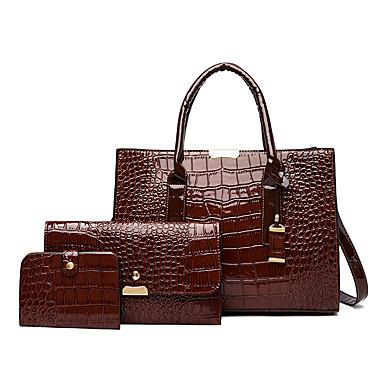 cheap Bag Sets-Women's Bags PU Leather Bag Set 3 Pcs Purse Set Metallic Crocodile for Event / Party / Daily Dark Brown / Wine / Black / Bag Sets