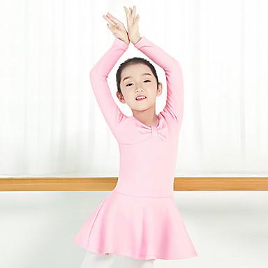 preiswerte Tanzkleider & Tanzschuhe-Ballett Kleider Mädchen Training / Leistung Baumwollmischung / Flanell Satin Schleife / Horizontal gerüscht Langarm Normal Kleid