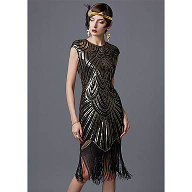 The Great Gatsby Charleston 1920s Flapper Dress Dame Paljetter Kostume Svart / Gylden+Svart / Hvit Vintage Cosplay Fest Ball Skoleball Ermeløs / Kjole / Kjole