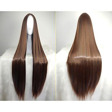 povoljno Perike i ekstenzije-Sintetičke perike Ravan kroj Kardashian Stil Asimetrična frizura Perika Crn Sintentička kosa 28 inch Žene Prirodna linija za kosu Crna Perika Dug