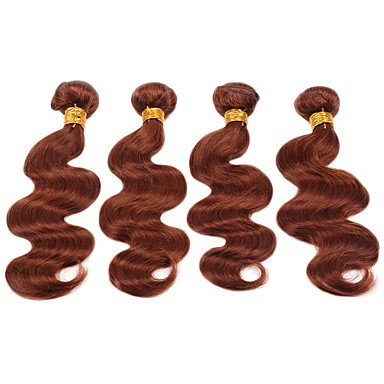 """povoljno Ekstenzije za kosu-4 paketića Brazilska kosa Tijelo Wave Remy kosa Ljudska kosa Precolored kose plete Ekstenzije od ljudske kose 12""""~22"""" Smeđa Isprepliće ljudske kose Prirodno Najbolja kvaliteta Za crnkinje Proširenja"""