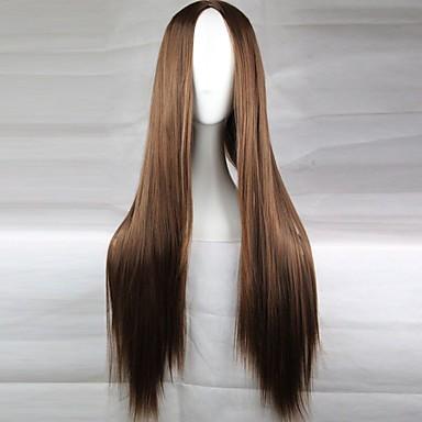 povoljno Perike i ekstenzije-Cosplay perika Sintetičke perike Ravan kroj Ravan kroj Asimetrična frizura Perika Dug Svjetlosmeđ Tamno smeđa Crna Plavuša Crvena Sintentička kosa 28 inch Žene Prirodna linija za kosu Srednji dio