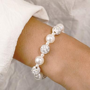 levne Dámské šperky-Dámské Korálkový náramek Frosted Ball Šťastný Sladký Cute Style Napodobenina perel Náramek šperky Bílá Pro Denní Práce Festival