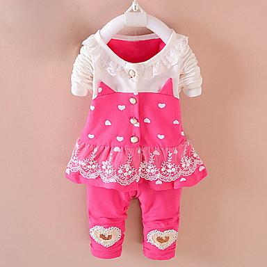 abordables Ropa de Bebés-Bebé Chica Chic de Calle Bloques Manga Larga Regular Conjunto de Ropa Rosa