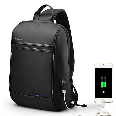 """preiswerte Laptop-Taschen und Rucksäcke-13 """"Laptop Rucksäcke Polyester Solide Für Männer Für Frauen für Geschäftsstelle Stossfest mit USB-Ladeanschluss / Kopfhörerloch"""