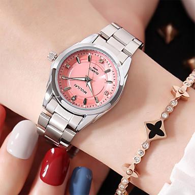 baratos Novidades-Mulheres Relógios de Quartzo Casual Prata Aço Inoxidável Quartzo Branco Rosa Adorável Analógico