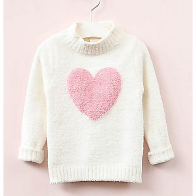 cheap Girls' Sweaters & Cardigans-Kids Girls' Basic Color Block Long Sleeve Sweater & Cardigan White