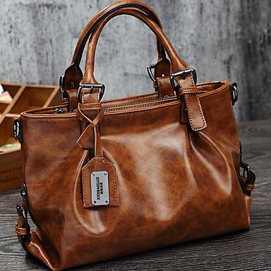 preiswerte Taschen-Damen Reißverschluss PU Tasche mit oberem Griff Schwarz / Braun / Grün