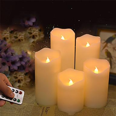 billige Smartlamper-flammeløst bryllup dekorative stearinlys batteridrevet søyle ekte voks wick elektrisk led lys presentasjonssett med fjernkontroll