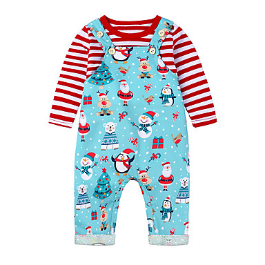 cheap Baby Girls' Clothing Sets-Baby Girls' Active / Basic Santa Claus Striped / Print Print Long Sleeve Regular Clothing Set Red