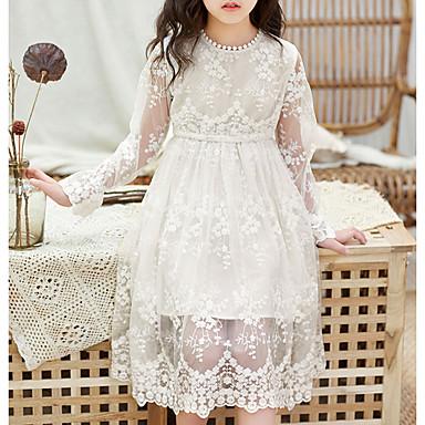cheap Girls' Dresses-Kids Girls' Floral Print Long Sleeve Midi Dress White