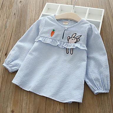 cheap Girls' Clothing-Kids Toddler Girls' Active Basic Blue & White Striped Fruit Long Sleeve Blouse Light Blue
