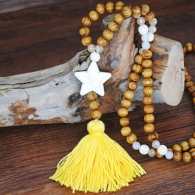 cheap Necklaces-Women's Collar Necklace Wood Black Yellow Red Blue Pink 81 cm Necklace Jewelry 1pc For Daily