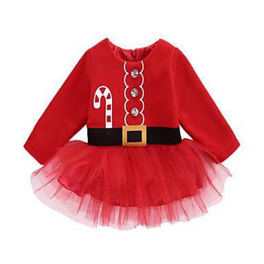 povoljno Odjeća za bebe-Dijete Djevojčice Aktivan Jednobojni Dugih rukava Do koljena Haljina Red / Dijete koje je tek prohodalo