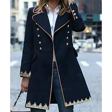 levne Novinky-Dámské Denní Zima Standardní Kabát, Geometrický Kolopy do špičky Dlouhý rukáv Polyester Námořnická modř