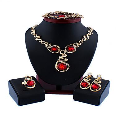 levne Dámské šperky-Dámské Stříbrná Fialová Modrá Svatební šperky Soupravy Link / řetězec Květinový motiv stylové Luxus Náušnice Šperky Fialová / Stříbrná / Červená Pro Vánoce Svatební Párty Zásnuby Dar 1 sada