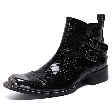 Herre Novelty Shoes Nappa Lær Vinter / Høst vinter Vintage / Britisk Støvler Hold Varm Ankelstøvler Svart / Fest / aften