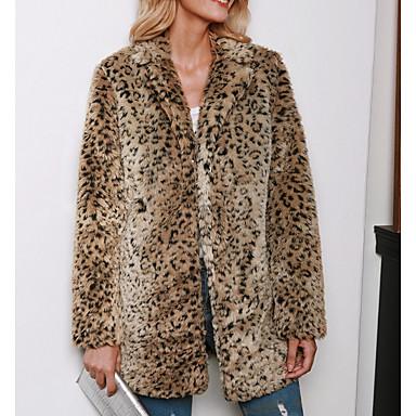 levne Novinky-Dámské Denní Standardní Kabát, Leopard Polostojatý límec Dlouhý rukáv Polyester Hnědá