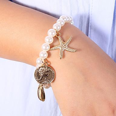 levne Dámské šperky-Dámské Bílá Korálkový náramek Klasické Náramky Náušnice / Náramek Klasika Mořská hvězdice Mušle Klasické Moderní Módní Cute Style Elegantní Napodobenina perel Náramek šperky Zlatá Pro Dar Denní Škola