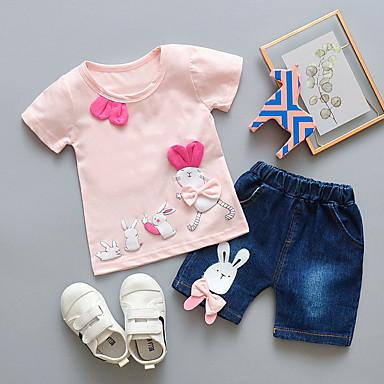 povoljno Kompletići za bebe-Dijete Djevojčice Ulični šik Print Kratkih rukava Regularna Komplet odjeće Blushing Pink