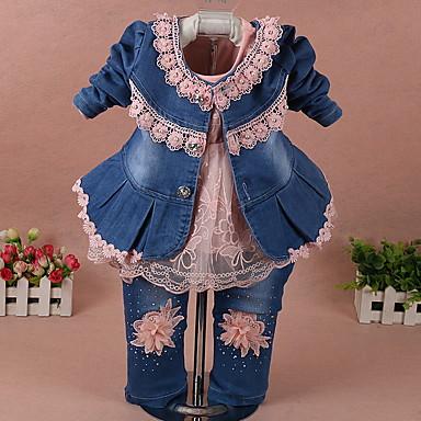 povoljno Kompletići za djevojčice-Dijete Djevojčice Ulični šik Color block Dugih rukava Regularna Komplet odjeće Obala