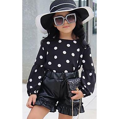 cheap Girls' Clothing Sets-Kids Toddler Girls' Street chic Punk & Gothic School Daily Wear Black & White Print Print Drawstring Long Sleeve Short Short Clothing Set Black