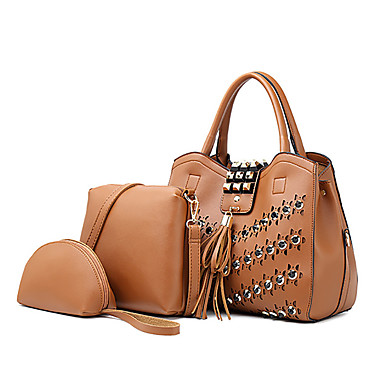 cheap Bag Sets-Women's Rivet PU Bag Set Solid Color 3 Pcs Purse Set Black / Brown / Blushing Pink