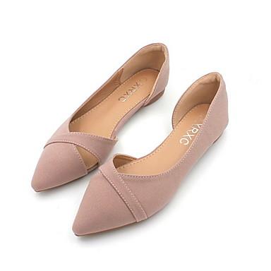 levne Dámské boty s plochou podrážkou-Dámské Bez podpatku Rovná podrážka Palec do špičky Plátno Podzim Černá / Růžová