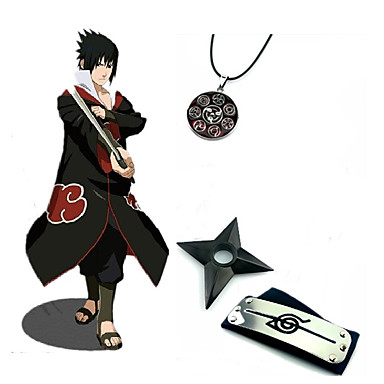 Inspirerad av Naruto Sasuke Uchiha Animé Cosplay-kostymer Japanska cosplay Suits / Mer accessoarer Tryck Kappa / Dekorativa Halsband / Pannband Till Herr / Kunai / Kunai