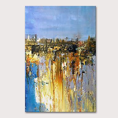 preiswerte überdimensional Farbe-Hang-Ölgemälde Handgemalte - Abstrakt Abstrakte Landschaft Modern Fügen Innenrahmen