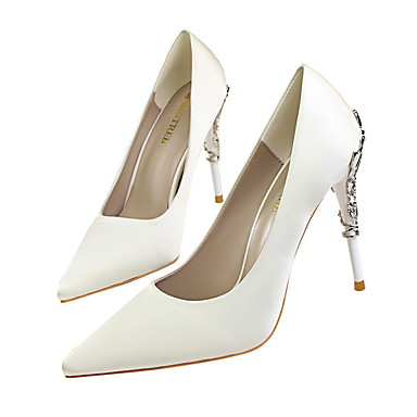 cheap Women's Heels-Women's Heels Spring Fantasy Heel Pointed Toe Classic Wedding Party & Evening Solid Colored Satin White / Black / Yellow / 3-4