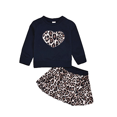 povoljno Odjeća za bebe-Dijete Djevojčice Osnovni / Ulični šik Crna Leopard / Jednobojni Vezica Dugih rukava Regularna Normalne dužine Komplet odjeće Crn