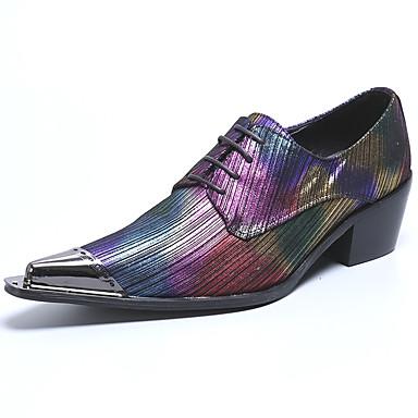 Muškarci Cipele za noviteti Mekana koža Proljeće ljeto / Jesen zima Vintage / Uglađeni Oksfordice Non-klizanje Crn / purpurna boja / Zabava i večer