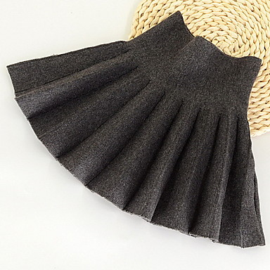cheap Baby & Kids-Kids Girls' Solid Colored Skirt Black