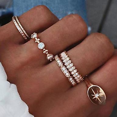 levne Dámské šperky-Dámské Sada kroužků 6ks Zlatá Umělé diamanty Slitina Jednoduchý Vintage Evropský Denní Street Šperky Yıldız