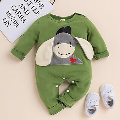 baratos Roupas de Bebê Para Meninos-bebê Para Meninos Activo / Básico Feras Fantásticas Estampado Bordado Manga Longa Jardineira & Macacão Verde