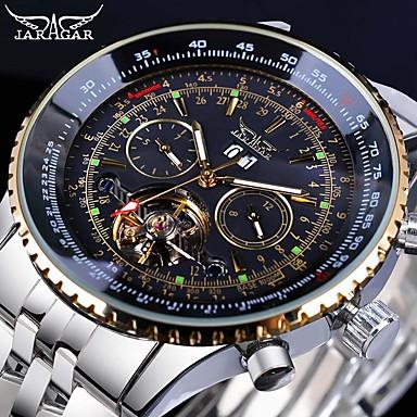 levne Pánské-Jaragar Pánské Módní hodinky Hodinky s lebkou Náramkové hodinky Automatické natahování Velkoformátové Nerez 30 m Kalendář Cool Analogové Luxus Klasické Na běžné nošení - Stříbrný / bílá Gold / White