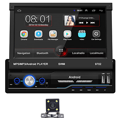 cheap Car DVD Players-SWM 9702+4Led camera 7 inch 1 DIN Android 8.1 In-Dash Car DVD Player / Car MP5 Player / Car MP4 Player Touch Screen / GPS / Built-in Bluetooth for universal RCA / HDMI / FM2 Support MPEG / MPG / WMV