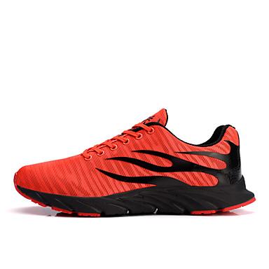 cheap Men's Athletic Shoes-Men's Comfort Shoes Canvas / Mesh Spring & Summer Sporty / Casual Athletic Shoes Running Shoes / Walking Shoes Breathable Slogan Black / Orange