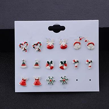 povoljno Modne naušnice-Žene Naušnice Set Jastuk Los Pahulja Zvono Slatka Style Naušnice Jewelry Srebro Za Božić