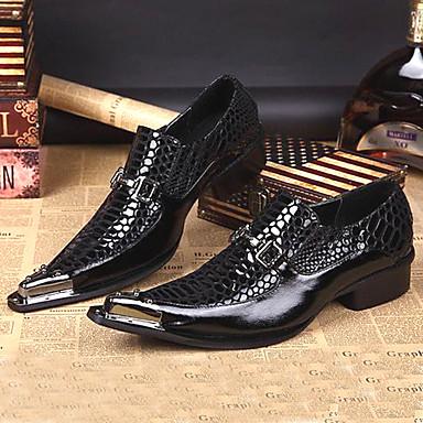 Muškarci Kožne cipele Mekana koža Proljeće ljeto / Jesen zima Vintage / Uglađeni Natikače i mokasinke Non-klizanje Crn / Zabava i večer