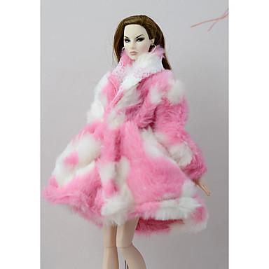 preiswerte Zubehör für Puppen-Puppen-Outfit Puppenmantel Mäntel / Jacken Für Barbie Rosa Vließstoff Baumwolle Kleidung Polyester Mantel Für Mädchen Puppe Spielzeug