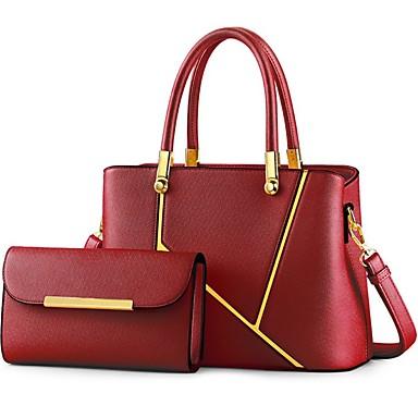 preiswerte Taschensets-Damen Reißverschluss PU Bag Set 2 Stück Geldbörse Set Schwarz / Rosa / Gold